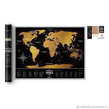 Diseño y publicidad manualidades. Livemaster - hecho a mano Mapa de Scratch Travel map Black World. Handmade.