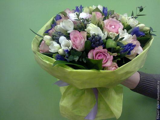 """Букеты ручной работы. Ярмарка Мастеров - ручная работа. Купить Букет """"Весна.."""". Handmade. Живые цветы, белый, фрезия"""
