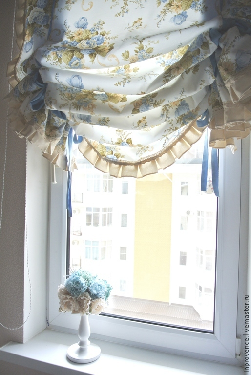 Curtains With Blue English Roses Shabby Chic Style Shop Online On Livemaster With Shipping