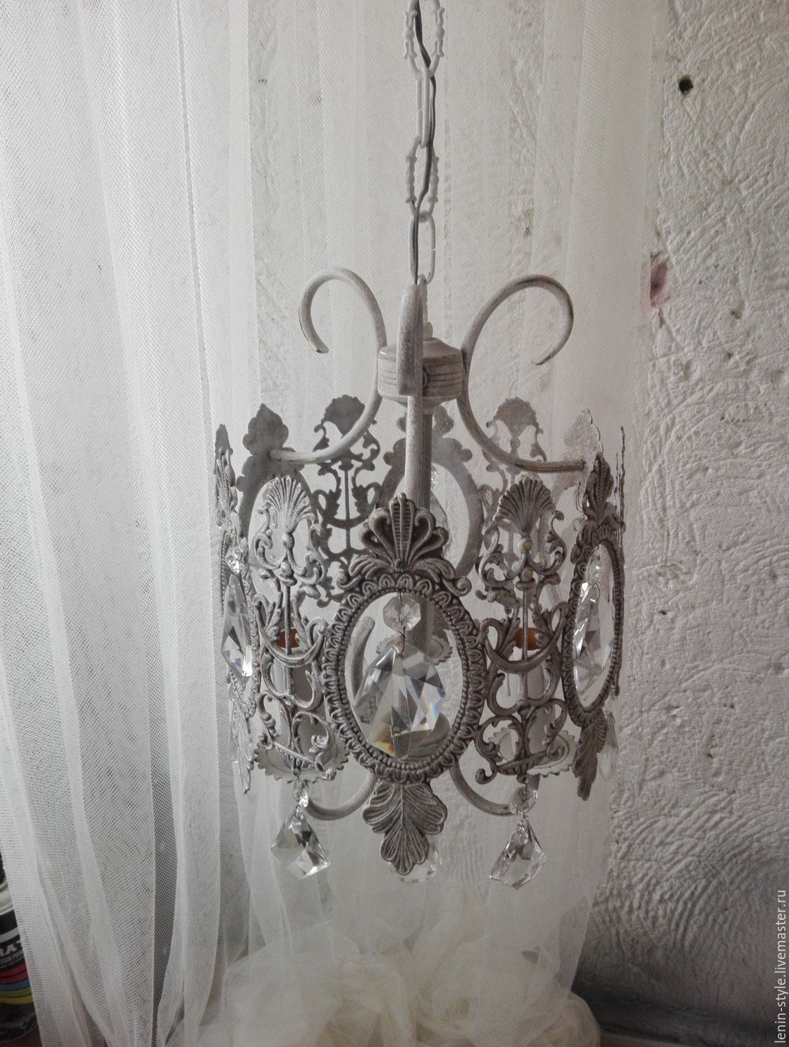 Order Small vintage chandelier 'Lace'. bronze. italy. - Small Vintage Chandelier