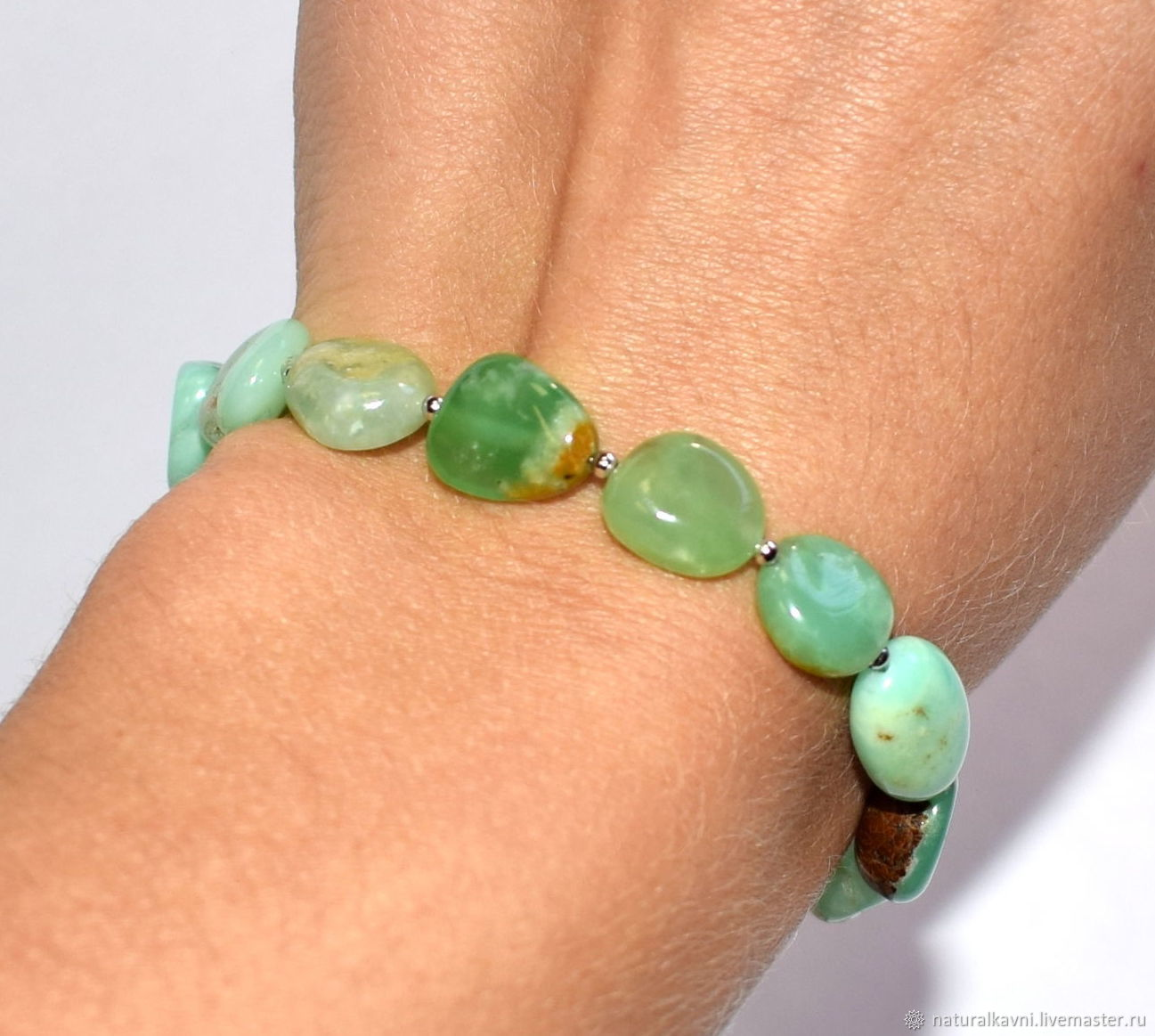 Bracelet made of natural chrysoprase, Bead bracelet, Moscow,  Фото №1