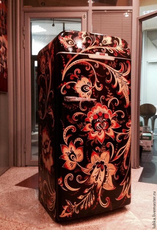 Декор поверхностей ручной работы. Ярмарка Мастеров - ручная работа. Купить Роспись холодильника Хохлома:). Handmade. Разноцветный, хохлома на черном