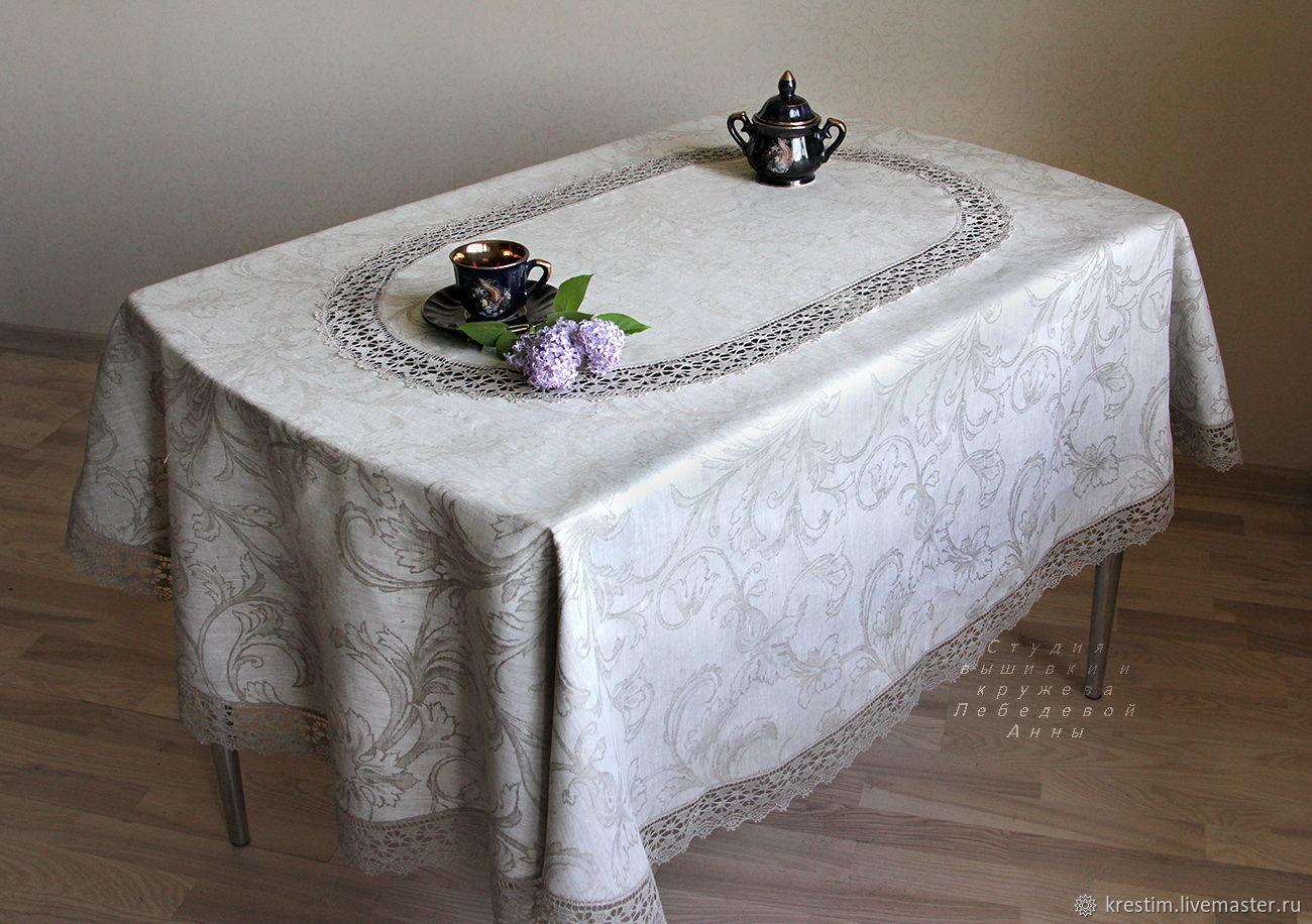 Oval tablecloth 'Renaissance' natural color, Tablecloths, St. Petersburg,  Фото №1