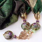 """Украшения ручной работы. Ярмарка Мастеров - ручная работа Колье """"Ирисы Ван Гога"""" из шелка с подвесками лэмпворк. Листья.collar. Handmade."""