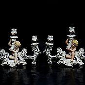 Винтаж handmade. Livemaster - original item Pair candlesticks made of porcelain. Handmade.