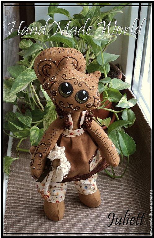 """Игрушки животные, ручной работы. Ярмарка Мастеров - ручная работа. Купить Кофейная кошечка """"Печенька"""", текстильная кукла. Handmade. Коричневый"""