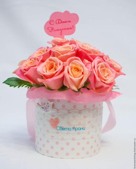 """Букеты ручной работы. Ярмарка Мастеров - ручная работа. Купить Розы """"Мисс Пигги"""" в шляпной коробке """"Мини"""". Handmade. Разноцветный"""