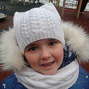 Работы для детей, handmade. Livemaster - original item Hat children`s knitted Kitty. Handmade.