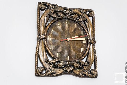 Часы для дома ручной работы. Ярмарка Мастеров - ручная работа. Купить Резные часы. Handmade. Коричневый, резьба по дереву, дерево