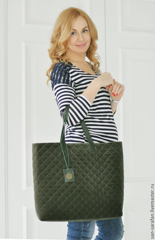 Женские сумки ручной работы. Ярмарка Мастеров - ручная работа. Купить Сумка шоппер. Handmade. Зеленый, сумка большая