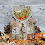 """Рюкзаки ручной работы. Ярмарка Мастеров - ручная работа Льняной рюкзак """"Длинный котик на лужайке"""". Handmade."""