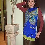 Одежда handmade. Livemaster - original item Felted Blue tunic with butterfly. Handmade.