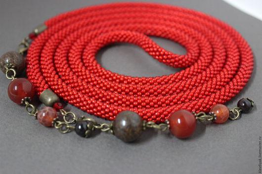 ярко-красный, лариат из бисера, лариат длинный, лариат купить, бронзит, украшение на шею, украшения из бисера, украшения ручной работы, бронзовый, подарок