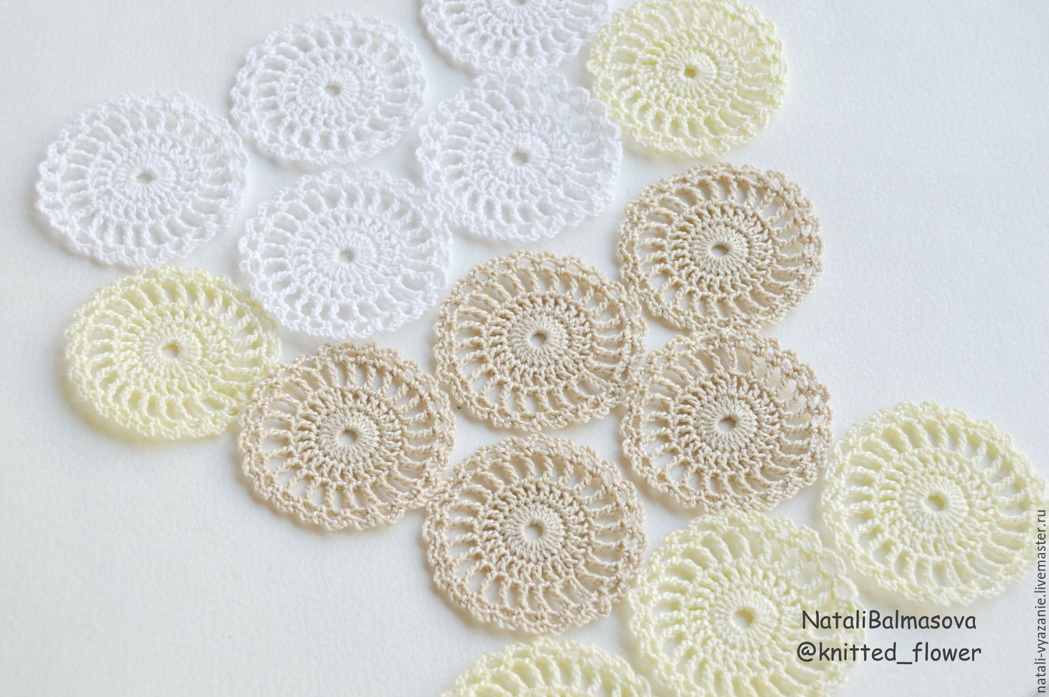 Knitted openwork circles, Details for dolls and toys, Sosnovyj Bor,  Фото №1