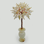 Цветы и флористика handmade. Livemaster - original item Tree of rock crystal in a vase of onyx