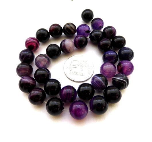 Для украшений ручной работы. Ярмарка Мастеров - ручная работа. Купить Агат 33 ккамня набор фиолетовый бусины шар 10 мм гладкие. Handmade.