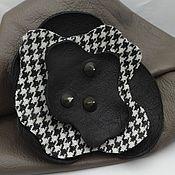 Украшения handmade. Livemaster - original item Brooch Stylized flower leather combined with fabric. Handmade.