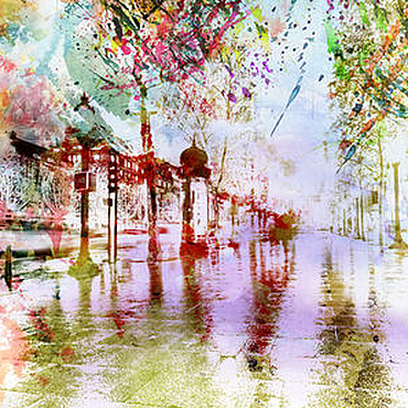 """Картины и панно ручной работы. Ярмарка Мастеров - ручная работа Акварель """"Дождливый бульвар"""". Handmade."""