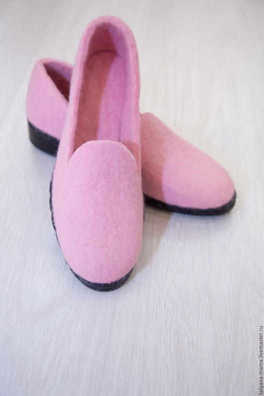 Обувь ручной работы. Ярмарка Мастеров - ручная работа. Купить Валяные туфли Розовый жемчуг. Handmade. Валяные туфли