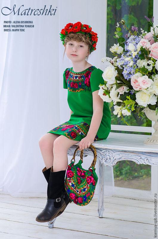Одежда для девочек, ручной работы. Ярмарка Мастеров - ручная работа. Купить Платье детское, нарядное - в славянском стиле - зеленое. Handmade.