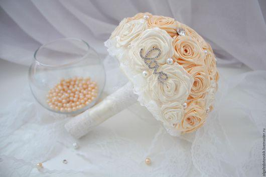 """Букеты ручной работы. Ярмарка Мастеров - ручная работа. Купить Свадебный брошь букет невесты  """"Шампань"""" Брошь букет в цвете слоновой. Handmade."""