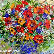 """Картины и панно ручной работы. Ярмарка Мастеров - ручная работа """"Маки в Синей Вазе"""" - картина маслом с цветами. Handmade."""