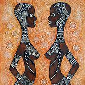 Картины и панно ручной работы. Ярмарка Мастеров - ручная работа Картина Африка Девушки кружевное панно. Handmade.