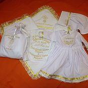 Комплекты одежды ручной работы. Ярмарка Мастеров - ручная работа Крестильный набор для девочки с именной вышивкой. Handmade.