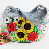 Сумки и аксессуары handmade. Livemaster - original item Bag of denim Bag blue Bouquet of wild flowers Embroidery. Handmade.