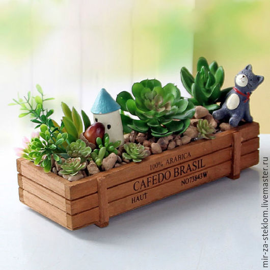 Другие виды рукоделия ручной работы. Ярмарка Мастеров - ручная работа. Купить Ящик деревянный  для мини-садиков и композиций. Handmade.