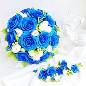 Свадебный салон ручной работы. Ярмарка Мастеров - ручная работа Свадебный букет из полимерной глины с синими розами. Handmade.