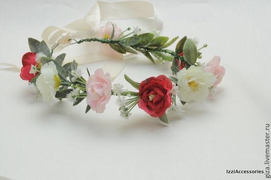 Диадемы, обручи ручной работы. Ярмарка Мастеров - ручная работа. Купить Венок из цветов Весенний для фотосессии, свадебный. Handmade. Розовый