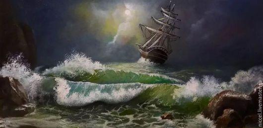 Пейзаж ручной работы. Ярмарка Мастеров - ручная работа. Купить Море.... Handmade. Море, Буря, скалы