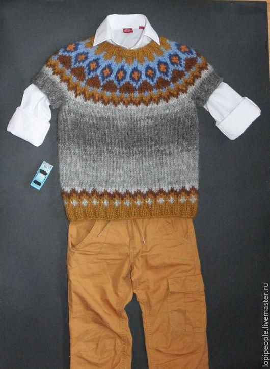 Одежда унисекс ручной работы. Ярмарка Мастеров - ручная работа. Купить Безрукавка детская. Handmade. Комбинированный, жилет, лопи