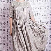 Одежда ручной работы. Ярмарка Мастеров - ручная работа Светло-серое платье бохо в клетку с колокольчиками. Handmade.