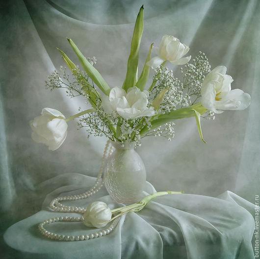 Фотокартины ручной работы. Ярмарка Мастеров - ручная работа. Купить Натюрморт фото, картина Белые тюльпананы с жемчугом. Handmade. Белый