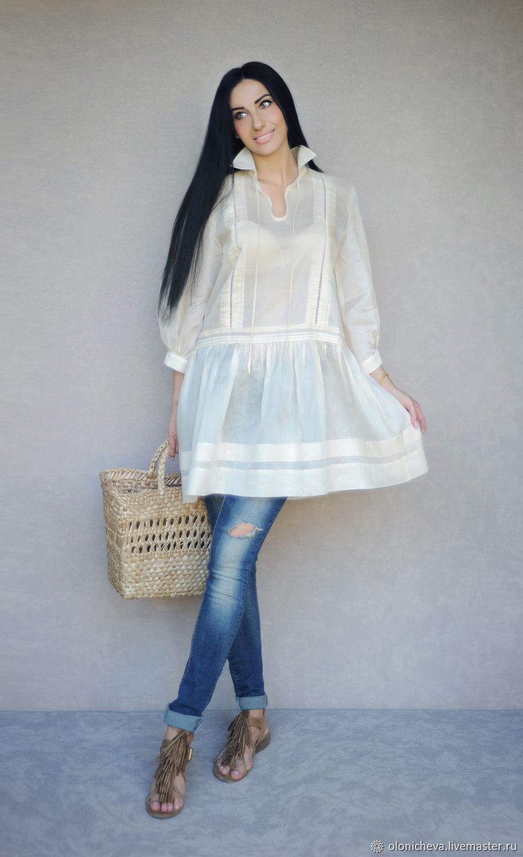 "Стильная блуза из батиста ""Ваниль"" длинная туника оверсайз, Blouses, Vinnitsa,  Фото №1"