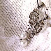 Украшения handmade. Livemaster - original item Lace Earring with pearl. Handmade.