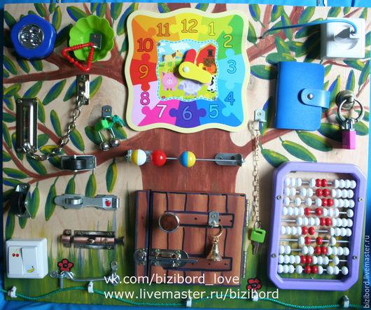 """Развивающие игрушки ручной работы. Ярмарка Мастеров - ручная работа. Купить Развивающая доска (бизиборд) для детей """"Чудо дерево"""". Handmade."""