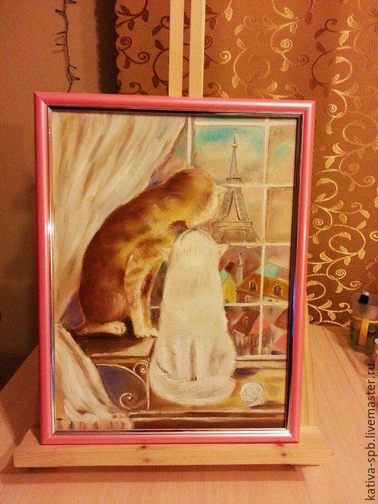 """Животные ручной работы. Ярмарка Мастеров - ручная работа. Купить Картина """"Котики в Париже"""". Handmade. Розовый, картина маслом недорого"""