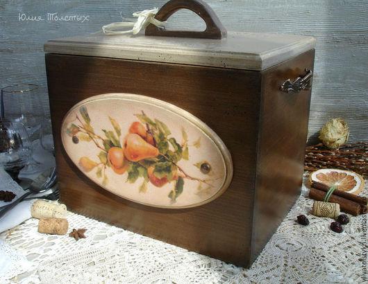 """Кухня ручной работы. Ярмарка Мастеров - ручная работа. Купить Хлебница  из бука """"Летний завтрак"""". Handmade. Коричневый, груши"""