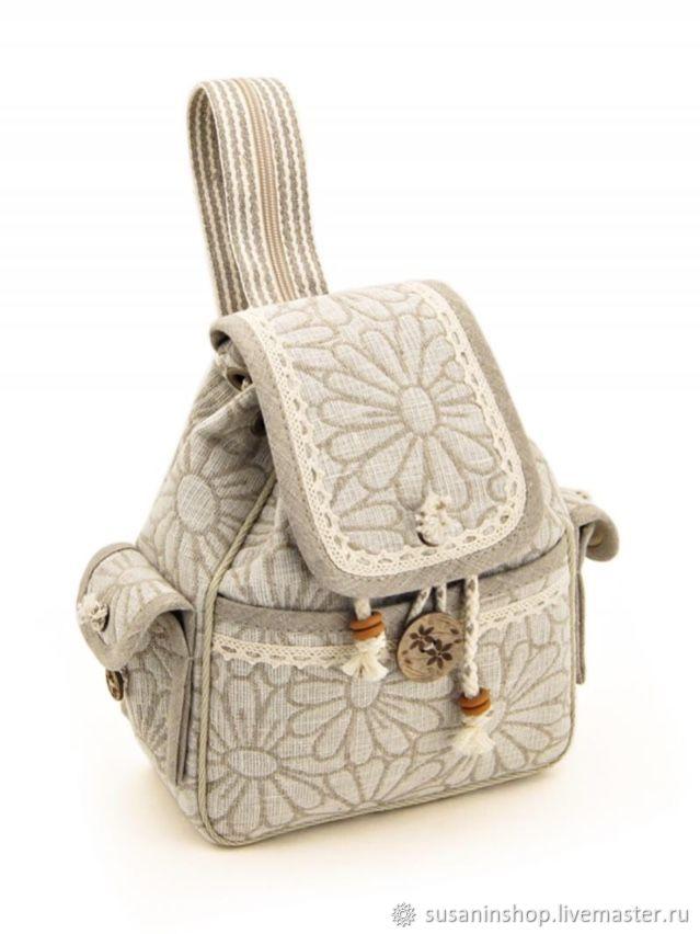 Рюкзак льняной среднего размера, Рюкзаки, Кострома,  Фото №1