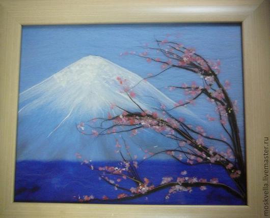 """Пейзаж ручной работы. Ярмарка Мастеров - ручная работа. Купить """"Цветение сакуры"""" картина из шерсти. Handmade. Сакура, шерсть"""