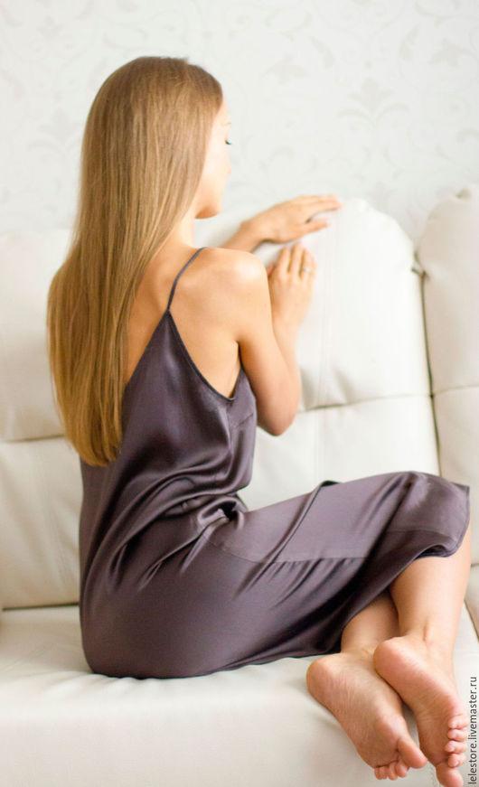 Платья ручной работы. Ярмарка Мастеров - ручная работа. Купить Платье – комбинация. Handmade. Коричневый, платье миди, шёлк