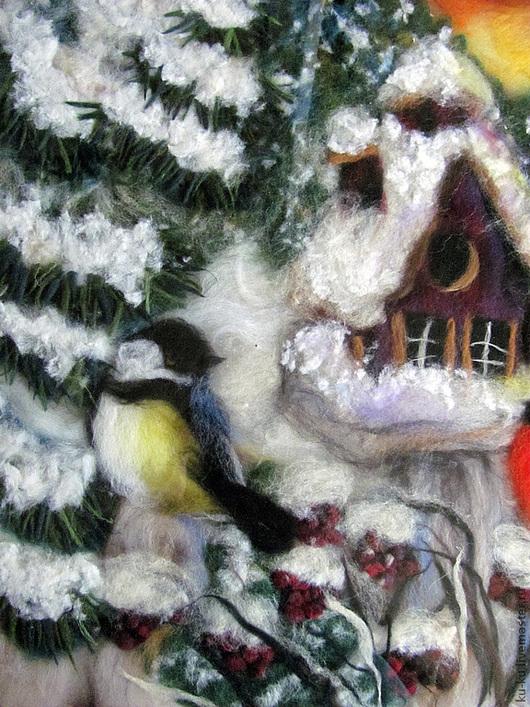 """Пейзаж ручной работы. Ярмарка Мастеров - ручная работа. Купить Картина шерстью """"У зимней кормушки"""". Handmade. Снегирь"""
