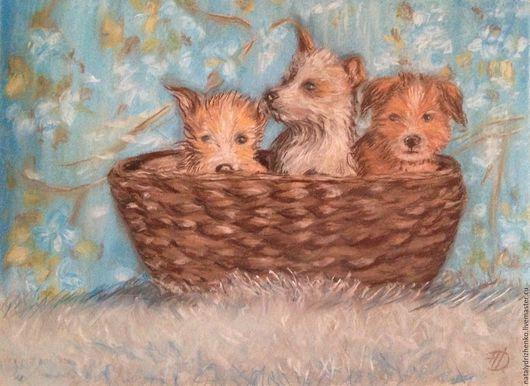 """Животные ручной работы. Ярмарка Мастеров - ручная работа. Купить Картина пастелью """"Три веселых друга"""". Handmade. Картина пастелью"""
