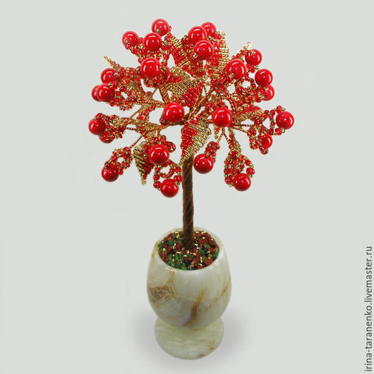 Дерево из коралла в вазочке из оникса `Коралловый юбилей`