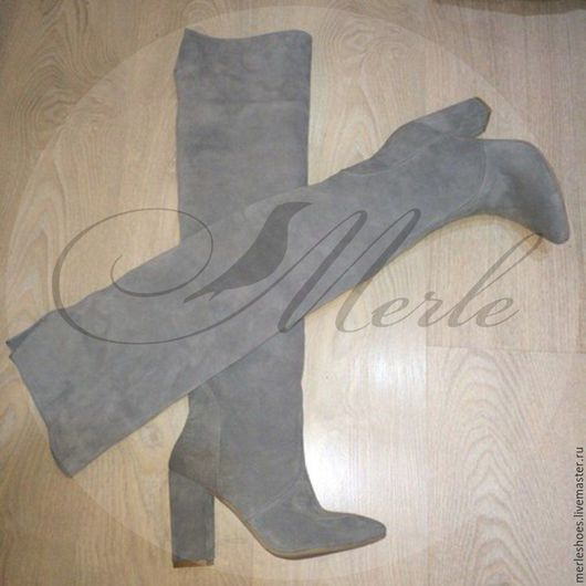 Обувь ручной работы. Ярмарка Мастеров - ручная работа. Купить Ботфорты светло-серый натуральный замш 10 см. Handmade.
