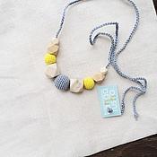 Одежда ручной работы. Ярмарка Мастеров - ручная работа Слингобусы - кормительные бусы - geometric - серебряный серый и желтый. Handmade.