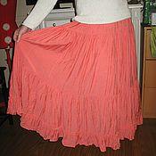 Одежда ручной работы. Ярмарка Мастеров - ручная работа юбка  с краш-эффектом коралл. Handmade.